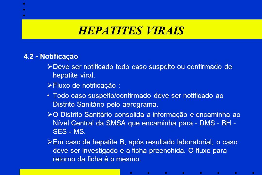 HEPATITES VIRAIS 4.2 - Notificação  Deve ser notificado todo caso suspeito ou confirmado de hepatite viral.  Fluxo de notificação : Todo caso suspei