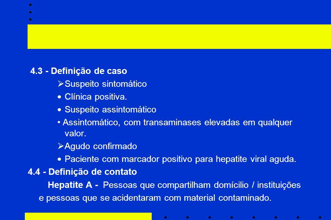 4.3 - Definição de caso  Suspeito sintomático  Clínica positiva.  Suspeito assintomático Assintomático, com transaminases elevadas em qualquer valo