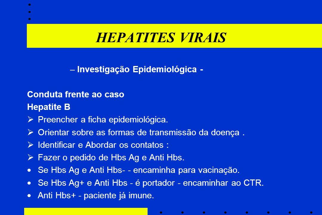 –Investigação Epidemiológica - Conduta frente ao caso Hepatite B  Preencher a ficha epidemiológica.  Orientar sobre as formas de transmissão da doen