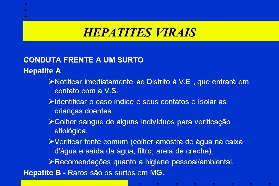 HEPATITES VIRAIS CONDUTA FRENTE A UM SURTO Hepatite A  Notificar imediatamente ao Distrito à V.E, que entrará em contato com a V.S.  Identificar o c