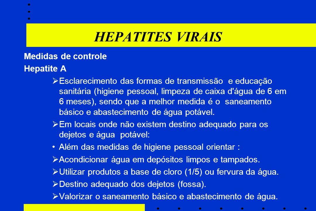 HEPATITES VIRAIS Medidas de controle Hepatite A  Esclarecimento das formas de transmissão e educação sanitária (higiene pessoal, limpeza de caixa d'á