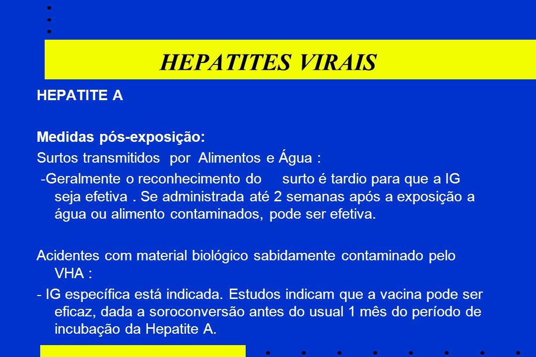 HEPATITES VIRAIS HEPATITE A Medidas pós-exposição: Surtos transmitidos por Alimentos e Água : -Geralmente o reconhecimento do surto é tardio para que