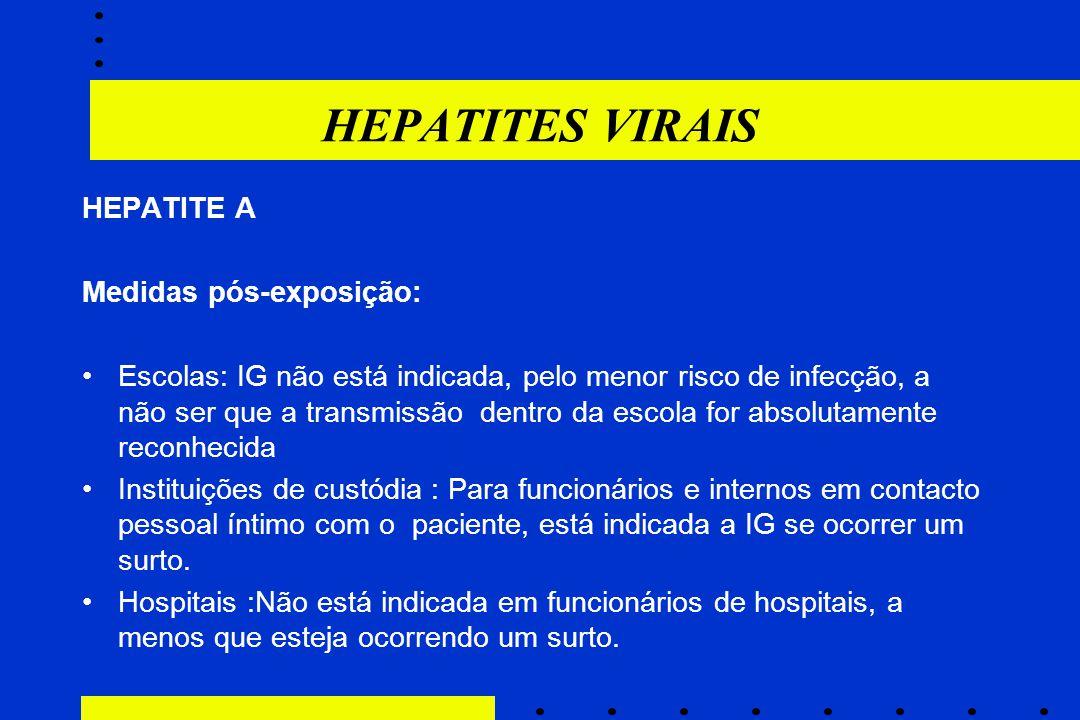 HEPATITES VIRAIS HEPATITE A Medidas pós-exposição: Escolas: IG não está indicada, pelo menor risco de infecção, a não ser que a transmissão dentro da