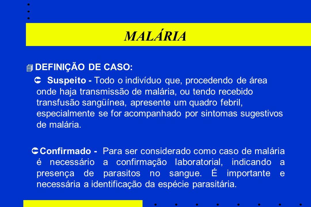 MALÁRIA  DEFINIÇÃO DE CASO:  Suspeito - Todo o indivíduo que, procedendo de área onde haja transmissão de malária, ou tendo recebido transfusão sang