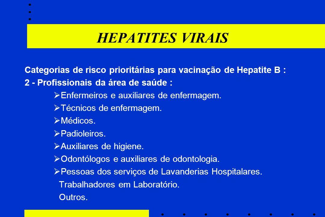 HEPATITES VIRAIS Categorias de risco prioritárias para vacinação de Hepatite B : 2 - Profissionais da área de saúde :  Enfermeiros e auxiliares de en