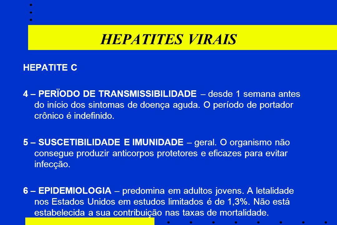 HEPATITES VIRAIS HEPATITE C 4 – PERÏODO DE TRANSMISSIBILIDADE – desde 1 semana antes do início dos sintomas de doença aguda. O período de portador crô