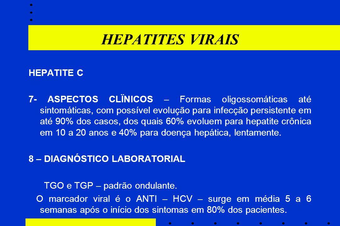 HEPATITES VIRAIS HEPATITE C 7- ASPECTOS CLÏNICOS – Formas oligossomáticas até sintomáticas, com possível evolução para infecção persistente em até 90%