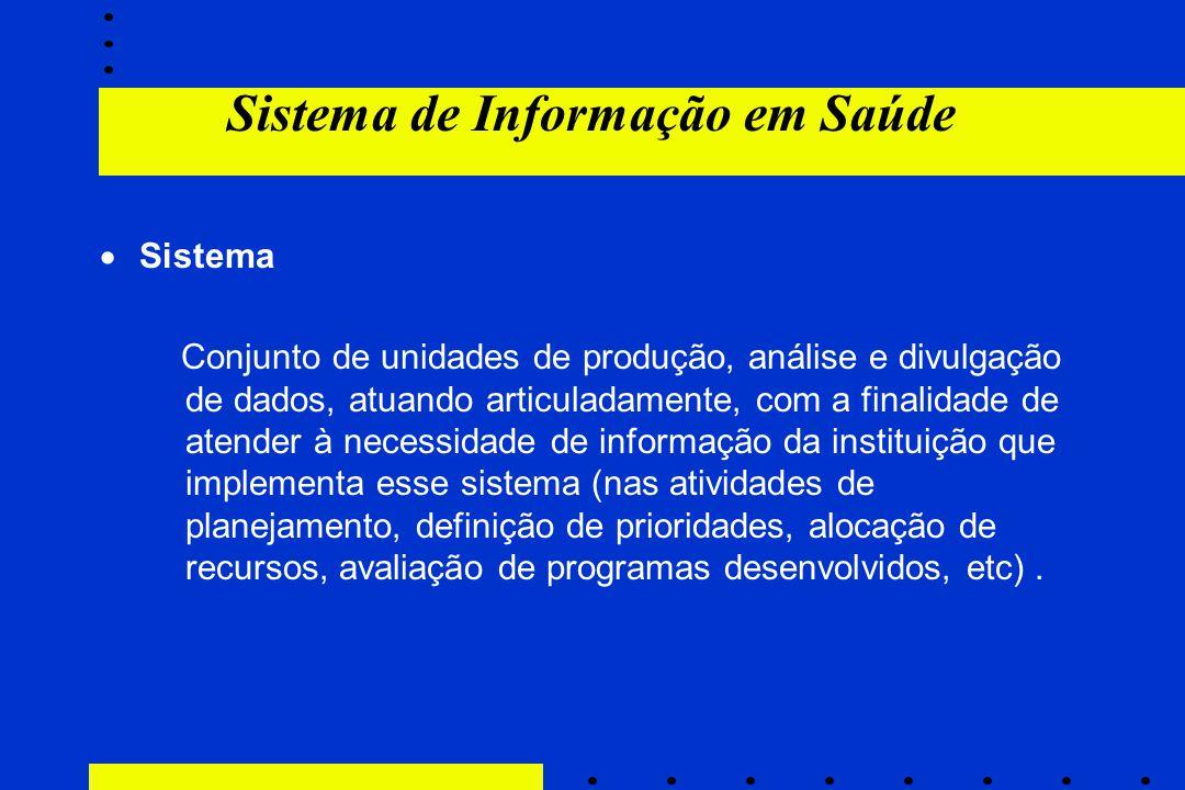 Sistema de Informação em Saúde  Sistema Conjunto de unidades de produção, análise e divulgação de dados, atuando articuladamente, com a finalidade de
