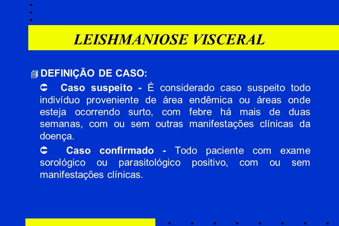 LEISHMANIOSE VISCERAL  DEFINIÇÃO DE CASO:  Caso suspeito - É considerado caso suspeito todo indivíduo proveniente de área endêmica ou áreas onde est