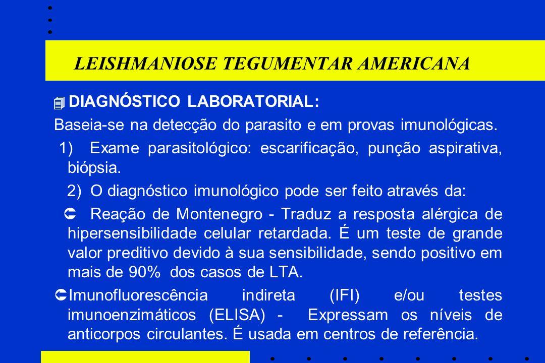 LEISHMANIOSE TEGUMENTAR AMERICANA  DIAGNÓSTICO LABORATORIAL: Baseia-se na detecção do parasito e em provas imunológicas. 1) Exame parasitológico: esc