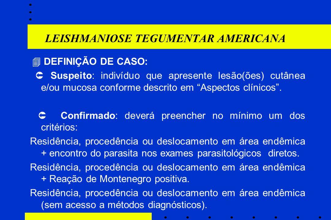 """LEISHMANIOSE TEGUMENTAR AMERICANA  DEFINIÇÃO DE CASO:  Suspeito: indivíduo que apresente lesão(ões) cutânea e/ou mucosa conforme descrito em """"Aspect"""