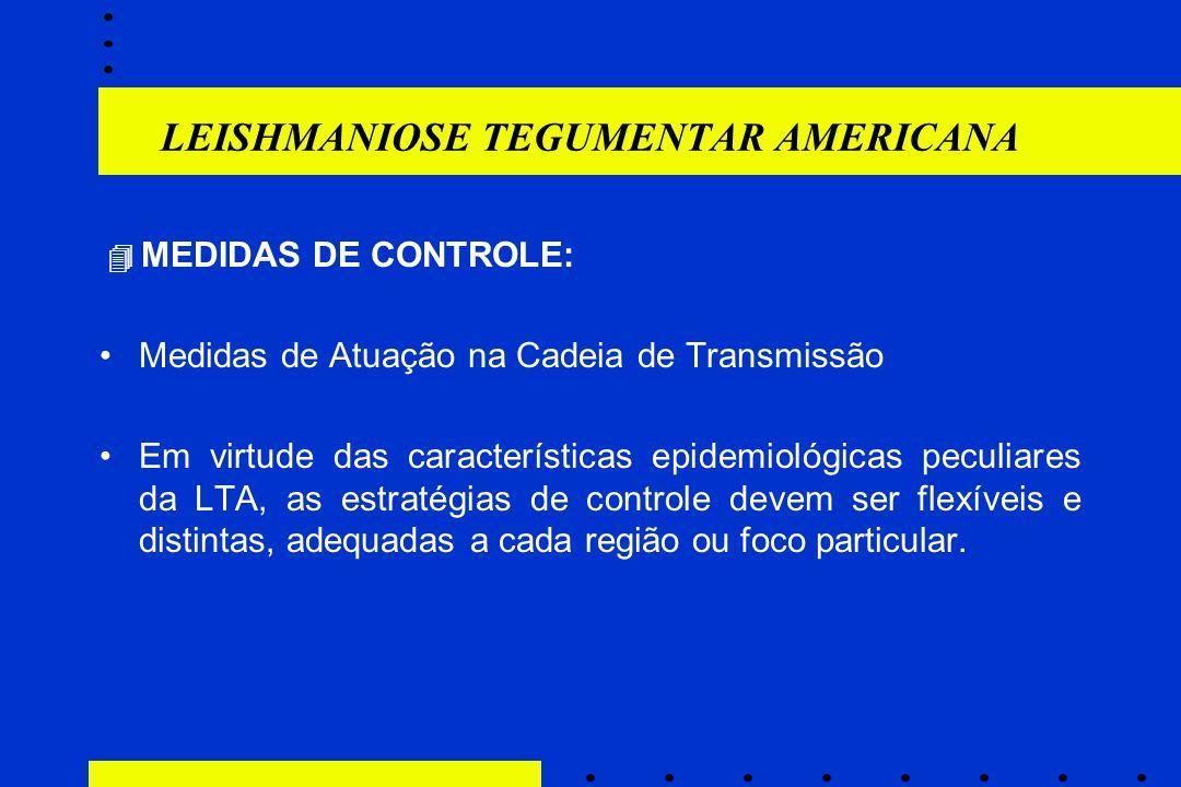 LEISHMANIOSE TEGUMENTAR AMERICANA  MEDIDAS DE CONTROLE: Medidas de Atuação na Cadeia de Transmissão Em virtude das características epidemiológicas pe