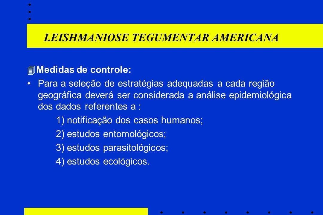 LEISHMANIOSE TEGUMENTAR AMERICANA  Medidas de controle: Para a seleção de estratégias adequadas a cada região geográfica deverá ser considerada a aná