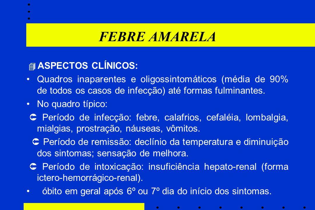 FEBRE AMARELA  ASPECTOS CLÍNICOS: Quadros inaparentes e oligossintomáticos (média de 90% de todos os casos de infecção) até formas fulminantes. No qu