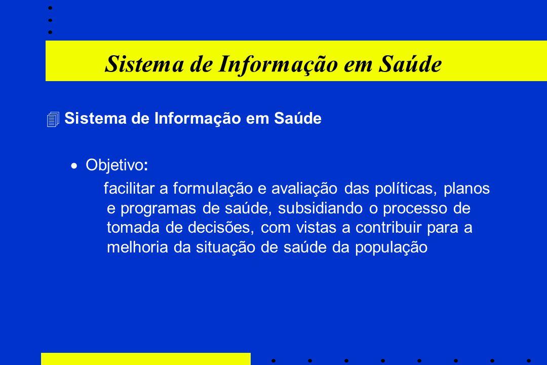 Sistema de Informação em Saúde 4Sistema de Informação em Saúde  Objetivo: facilitar a formulação e avaliação das políticas, planos e programas de saú