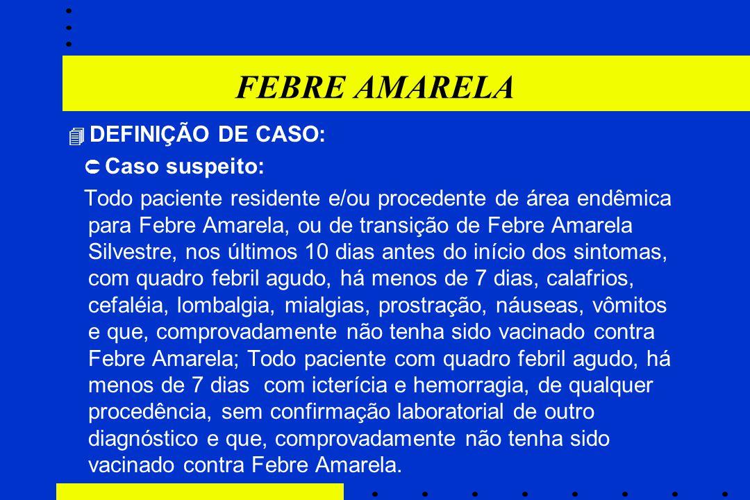 FEBRE AMARELA  DEFINIÇÃO DE CASO:  Caso suspeito: Todo paciente residente e/ou procedente de área endêmica para Febre Amarela, ou de transição de Fe