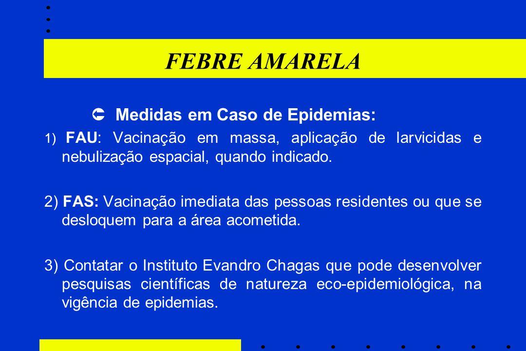 FEBRE AMARELA  Medidas em Caso de Epidemias: 1) FAU: Vacinação em massa, aplicação de larvicidas e nebulização espacial, quando indicado. 2) FAS: Vac