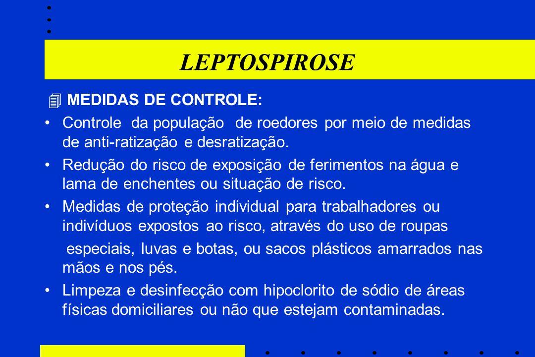LEPTOSPIROSE  MEDIDAS DE CONTROLE: Controle da população de roedores por meio de medidas de anti-ratização e desratização. Redução do risco de exposi