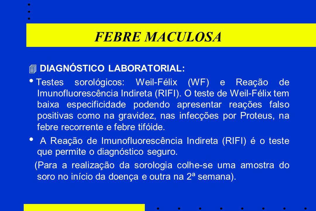 FEBRE MACULOSA  DIAGNÓSTICO LABORATORIAL:  Testes sorológicos: Weil-Félix (WF) e Reação de Imunofluorescência Indireta (RIFI). O teste de Weil-Félix