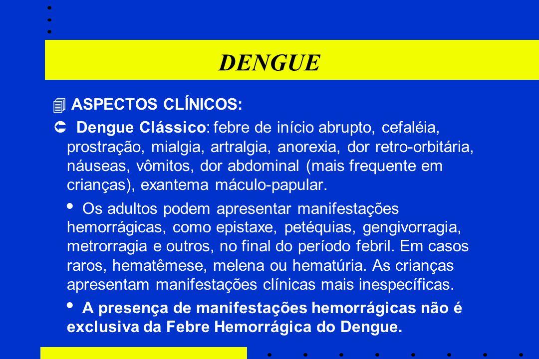 DENGUE  ASPECTOS CLÍNICOS:  Dengue Clássico: febre de início abrupto, cefaléia, prostração, mialgia, artralgia, anorexia, dor retro-orbitária, náuse