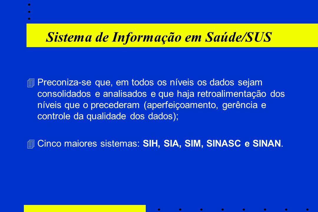 Sistema de Informação em Saúde/SUS 4Preconiza-se que, em todos os níveis os dados sejam consolidados e analisados e que haja retroalimentação dos níve