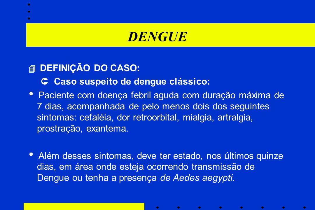 DENGUE  DEFINIÇÃO DO CASO:  Caso suspeito de dengue clássico:  Paciente com doença febril aguda com duração máxima de 7 dias, acompanhada de pelo m