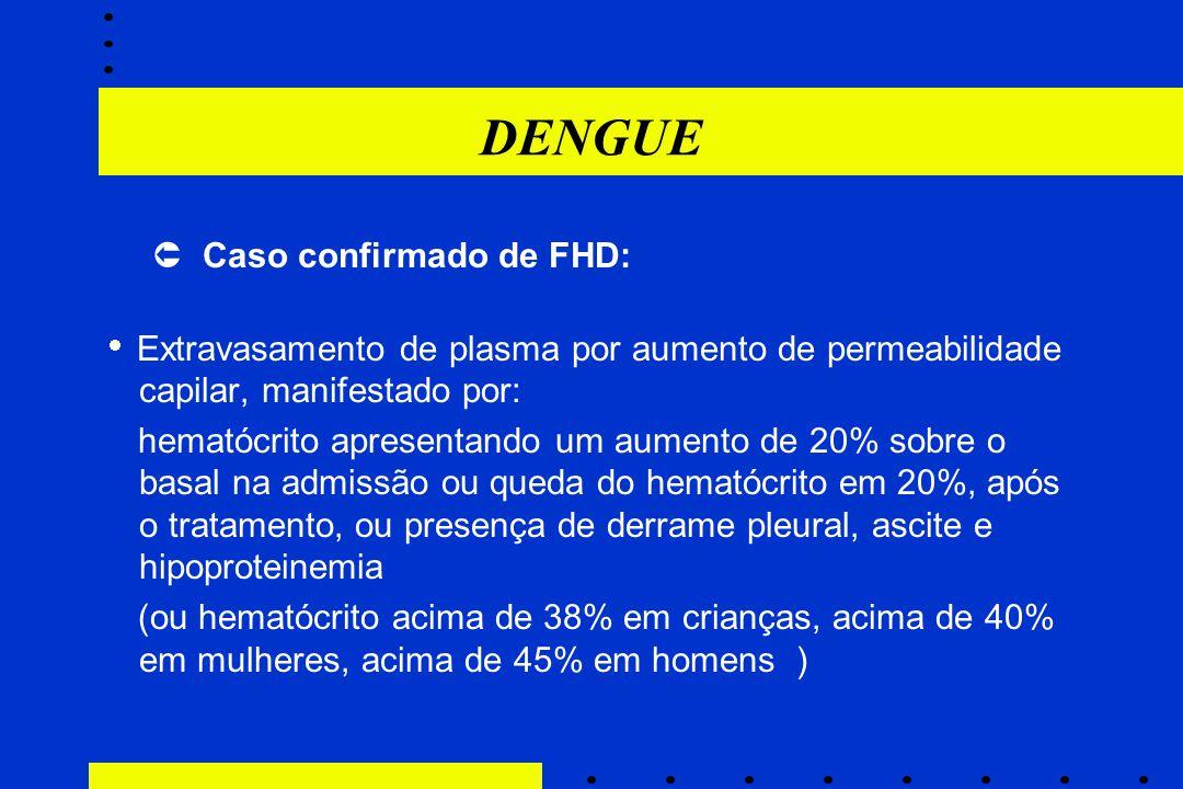 DENGUE  Caso confirmado de FHD:  Extravasamento de plasma por aumento de permeabilidade capilar, manifestado por: hematócrito apresentando um aument