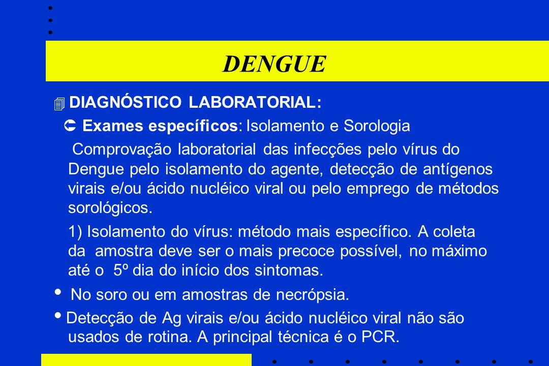 DENGUE  DIAGNÓSTICO LABORATORIAL:  Exames específicos: Isolamento e Sorologia Comprovação laboratorial das infecções pelo vírus do Dengue pelo isola