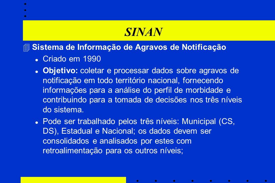 SINAN 4Sistema de Informação de Agravos de Notificação l Criado em 1990 l Objetivo: coletar e processar dados sobre agravos de notificação em todo ter