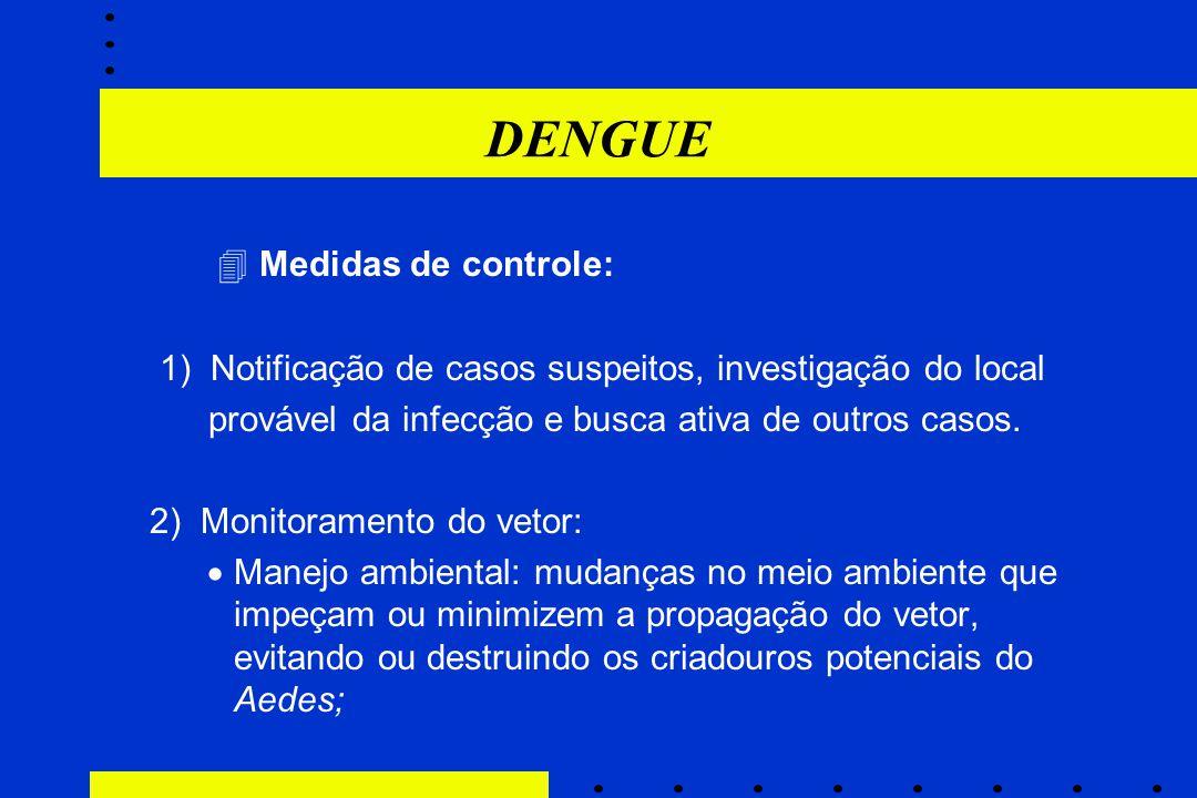 DENGUE  Medidas de controle: 1) Notificação de casos suspeitos, investigação do local provável da infecção e busca ativa de outros casos. 2) Monitora