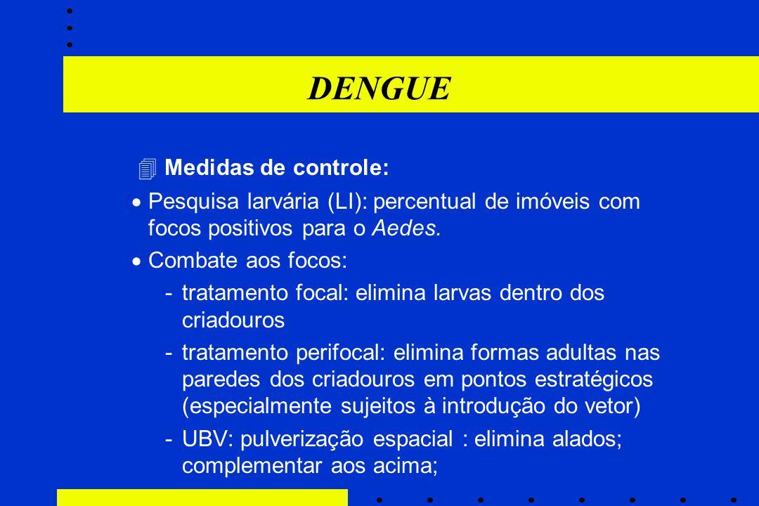 DENGUE  Medidas de controle:  Pesquisa larvária (LI): percentual de imóveis com focos positivos para o Aedes.  Combate aos focos: -tratamento focal