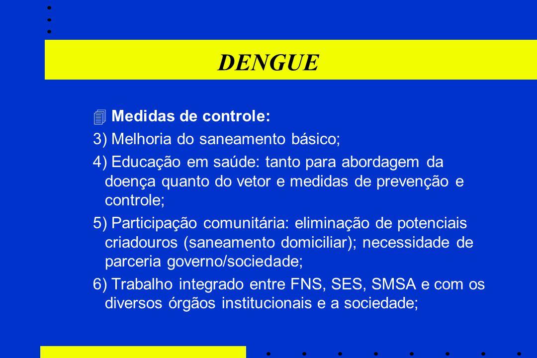 DENGUE  Medidas de controle: 3) Melhoria do saneamento básico; 4) Educação em saúde: tanto para abordagem da doença quanto do vetor e medidas de prev