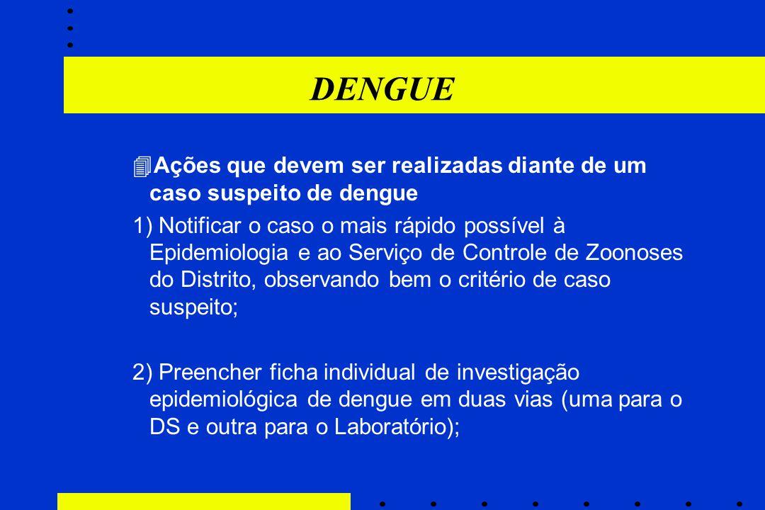DENGUE  Ações que devem ser realizadas diante de um caso suspeito de dengue 1) Notificar o caso o mais rápido possível à Epidemiologia e ao Serviço d