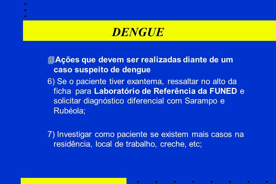 DENGUE  Ações que devem ser realizadas diante de um caso suspeito de dengue 6) Se o paciente tiver exantema, ressaltar no alto da ficha para Laborató