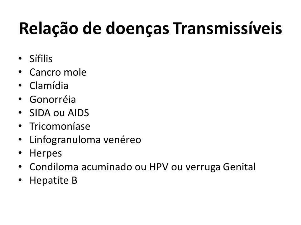 Relação de doenças Transmissíveis Sífilis Cancro mole Clamídia Gonorréia SIDA ou AIDS Tricomoníase Linfogranuloma venéreo Herpes Condiloma acuminado ou HPV ou verruga Genital Hepatite B