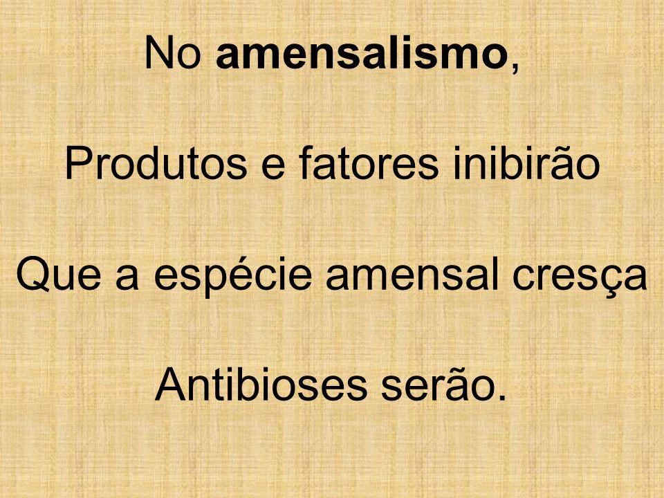 No amensalismo, Produtos e fatores inibirão Que a espécie amensal cresça Antibioses serão.
