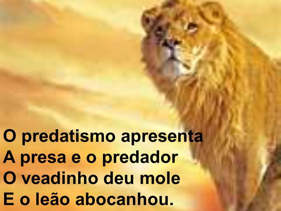 O predatismo apresenta A presa e o predador O veadinho deu mole E o leão abocanhou.