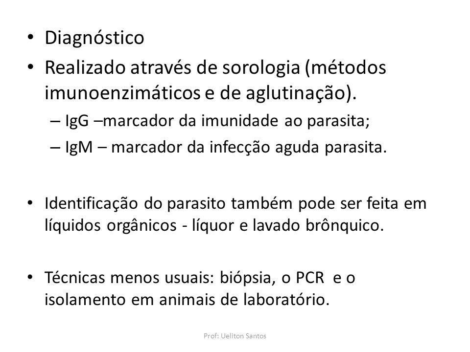 Diagnóstico Realizado através de sorologia (métodos imunoenzimáticos e de aglutinação). – IgG –marcador da imunidade ao parasita; – IgM – marcador da