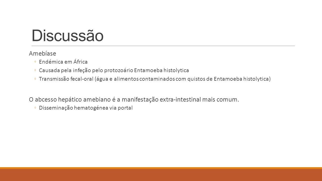 Discussão Amebíase ◦Endémica em África ◦Causada pela infeção pelo protozoário Entamoeba histolytica ◦Transmissão fecal-oral (água e alimentos contamin
