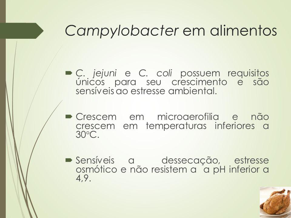 Campylobacter em alimentos  C. jejuni e C. coli possuem requisitos únicos para seu crescimento e são sensíveis ao estresse ambiental.  Crescem em mi