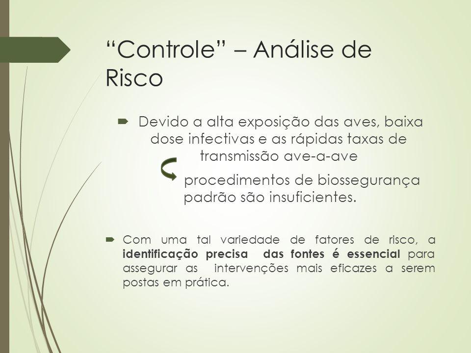 """""""Controle"""" – Análise de Risco  Devido a alta exposição das aves, baixa dose infectivas e as rápidas taxas de transmissão ave-a-ave procedimentos de b"""