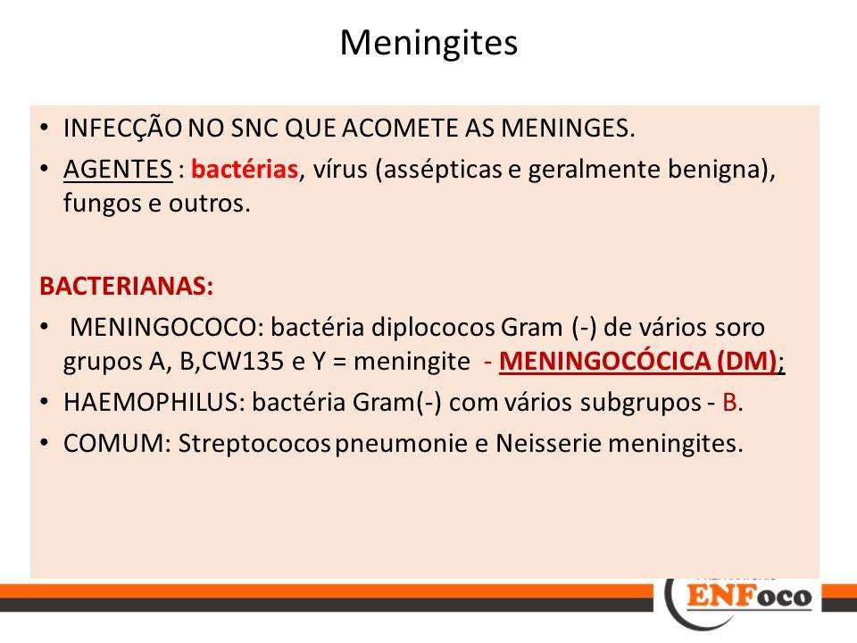INFECÇÃO NO SNC QUE ACOMETE AS MENINGES. AGENTES : bactérias, vírus (assépticas e geralmente benigna), fungos e outros. BACTERIANAS: MENINGOCOCO: bact