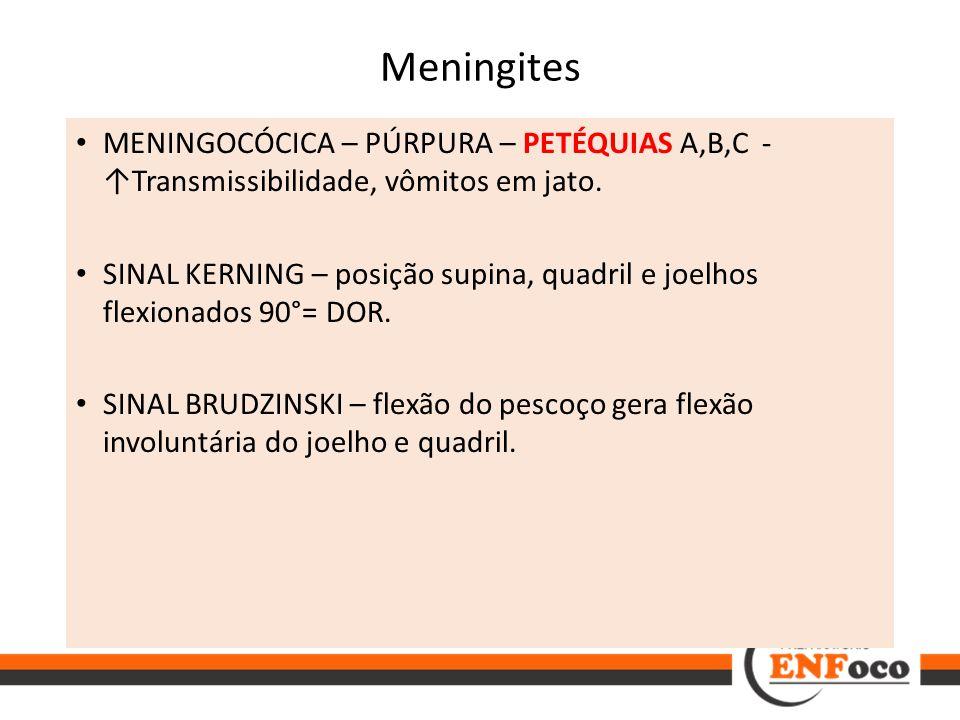 Meningites MENINGOCÓCICA – PÚRPURA – PETÉQUIAS A,B,C - ↑Transmissibilidade, vômitos em jato. SINAL KERNING – posição supina, quadril e joelhos flexion