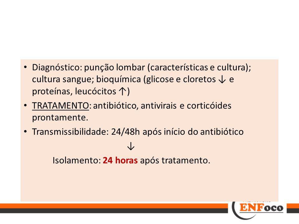 Diagnóstico: punção lombar (características e cultura); cultura sangue; bioquímica (glicose e cloretos ↓ e proteínas, leucócitos ↑) TRATAMENTO: antibi