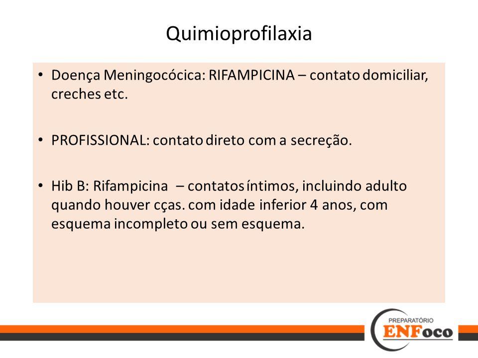 Quimioprofilaxia Doença Meningocócica: RIFAMPICINA – contato domiciliar, creches etc. PROFISSIONAL: contato direto com a secreção. Hib B: Rifampicina