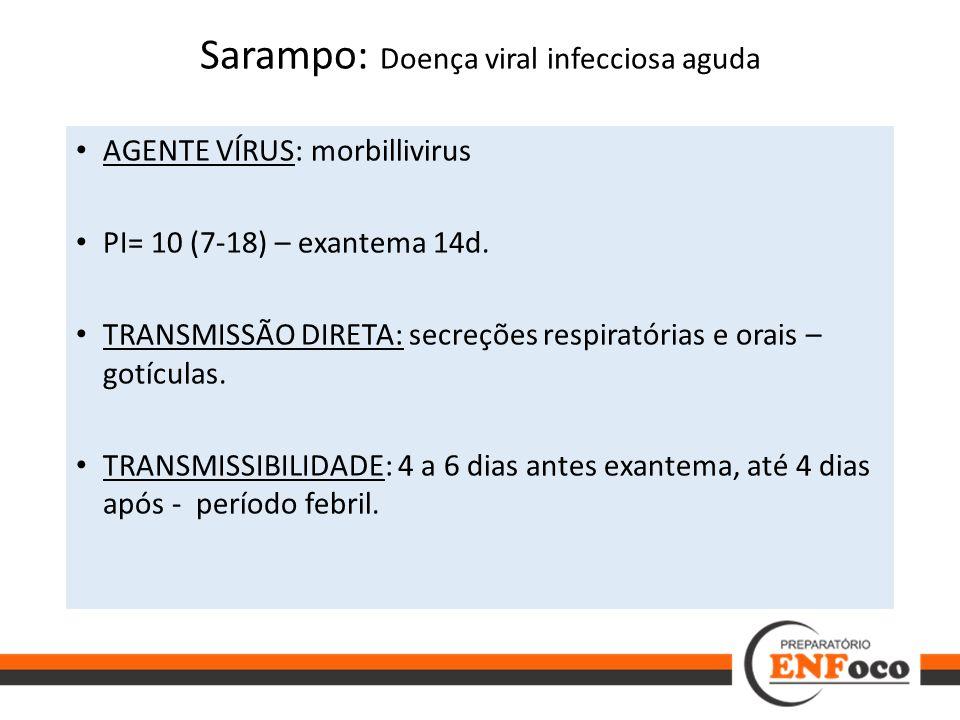 Sarampo: Doença viral infecciosa aguda AGENTE VÍRUS: morbillivirus PI= 10 (7-18) – exantema 14d. TRANSMISSÃO DIRETA: secreções respiratórias e orais –