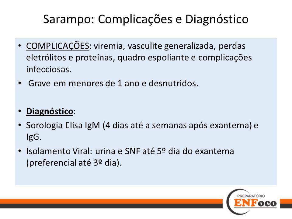 Sarampo: Complicações e Diagnóstico COMPLICAÇÕES: viremia, vasculite generalizada, perdas eletrólitos e proteínas, quadro espoliante e complicações in