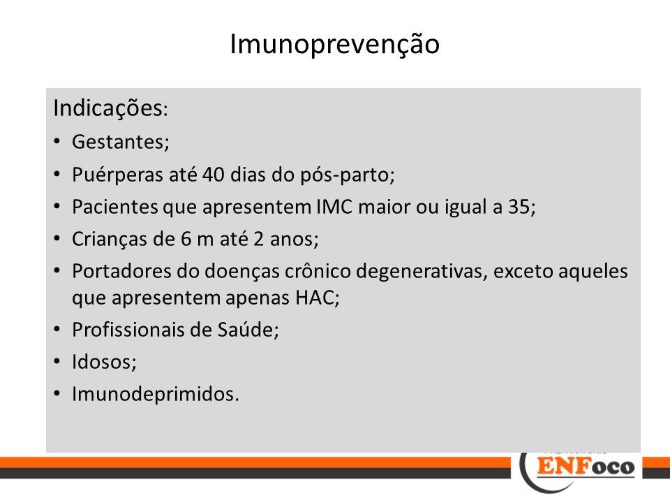 Imunoprevenção Indicações : Gestantes; Puérperas até 40 dias do pós-parto; Pacientes que apresentem IMC maior ou igual a 35; Crianças de 6 m até 2 ano