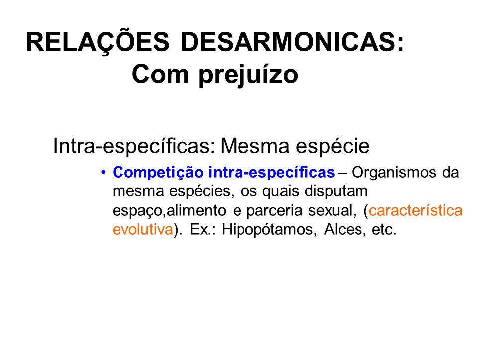 RELAÇÕES DESARMONICAS: Com prejuízo Intra-específicas: Mesma espécie Competição intra-específicas – Organismos da mesma espécies, os quais disputam es