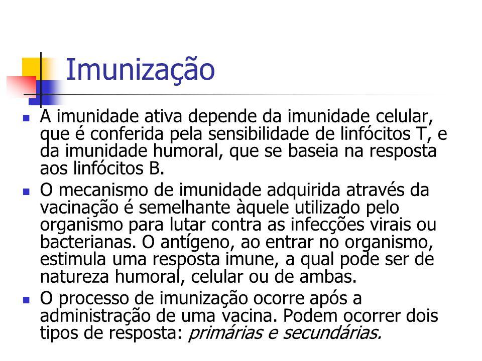 Resposta primária Período de latência: é o período entre a injeção da vacina e o aparecimento dos anticorpos séricos.